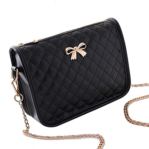 cindere Damen Handtasche Kunstleder lässig Bow Umhängetasche Gesteppte PU Leder Handtasche Süß Elegant mit Bowknot 4 Farben (Bow Leder Weiße)