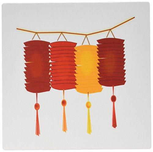0,3x 0,6cm Maus Pad, Image of Oriental Rot und Orange Papier Laternen-(MP 171722_ 1) ()