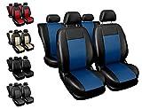 Sitzbezüge Auto universal Set Autositzbezüge Schonbezüge schwarz-blau Vordersitze und Rücksitze mit Airbag System - Comfort
