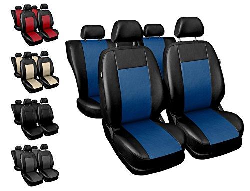 Carpendo Sitzbezüge Auto Set Autositzbezüge Schonbezüge Schwarz-Blau Vordersitze und Rücksitze mit Airbag System - Comfort