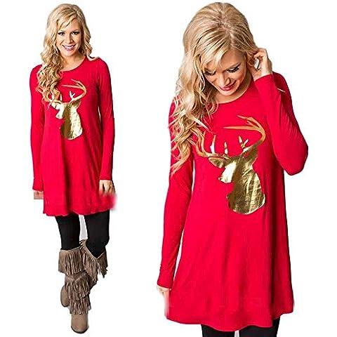 T shirt Sexy, Reasoncool Donne vestito rotonda del collare di modo di Natale Elk manicotto lungo Dress Casual