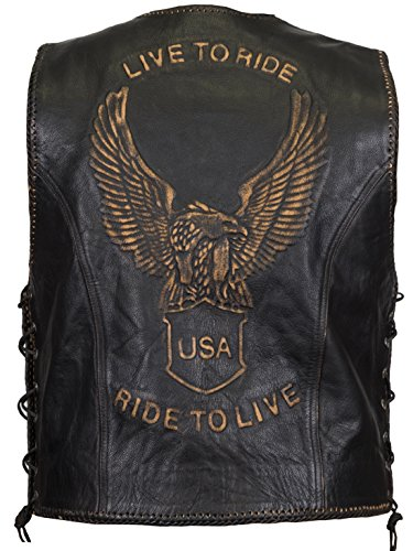 Lederweste mit Aufwendiger Adler-Prägung, Live to Ride Motiv (4XL) (Ride Herren Tasche)