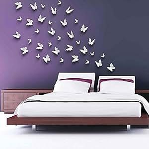 Stickers muraux Stickers Miroir Papillon 3D DIY Surface Décoration chambre Décorations Grand Argent