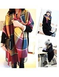 HuntGold écharpe chaud pour femme en tricot à plusieurs couleurs