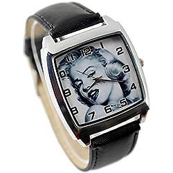 taport® Marilyn Monroe cuarzo cuadrado negro banda de cuero real en color + batería de repuesto + bolsa de regalo