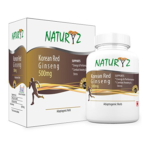 Naturyz Korean Red Ginseng -1000mg per serving - 60 Capsules (30 servings) for more energy and less stress  available at amazon for Rs.899