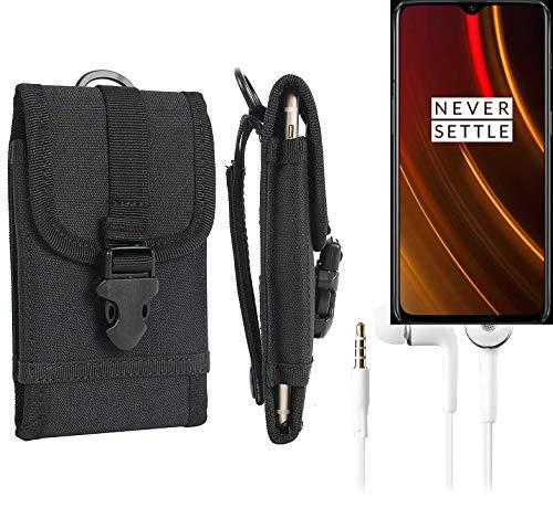 K-S-Trade Schutzhülle für OnePlus 6T McLaren Edition Gürteltasche Handyhülle Schutz Hülle Gürtel Tasche Handy Tasche Outdoor Seitentasche schwarz 1x + Kopfhörer