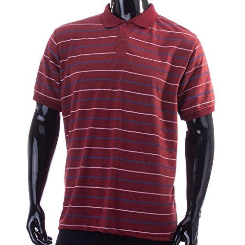 Henry Terre Poloshirt sportiver trendiger Streifendruck in klassischen Farben Bordeaux