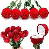 BAIXUE Künstliche Blume Künstliche Blume Rote Rose Romantische Rose Engagement Hochzeit Ohrring Ring Anhänger Schmuck Display Geschenkbox - Rot