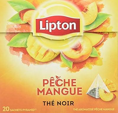Lipton Thé Noir Pêche & Mangue, Label Rainforest Alliance 60 Sachets (Lot de 3x20 Sachets)