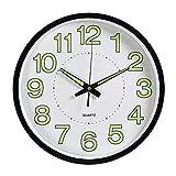 LENRUS Orologio da Parete Luce Notturna, 30,5cm Orologio da Parete con meccanismo Silenzioso Senza ticchettio, luci di Notte per Interni Cucina Camera da Letto di Gran Numero a Batteria Nero