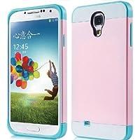 Semoss Funda de tpu silicona mezcla broche de presión en funda Carcasa rígida para Samsung Galaxy S4 i9500 i9505 Rosa+Azul+Blanco