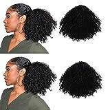 3C 4A Extension de cheveux synthétiques Afro crépus/frisés attachés en queue de cheval, fermeture en haut avec peignes et cordon de serrage