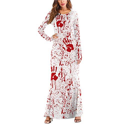 Zombie Stadt Kostüm Party - mama stadt Halloween Langarm Kleid Lang Kostüm Knochenkleid Tod Zombie Horror Karneval Fasching
