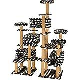 TecTake Katzen Kratzbaum Katzenbaum XXL | Stämme komplett mit Kokosseil umwickelt | 214cm hoch - Diverse Farben (Schwarz mit Tatzen | Nr. 402811)