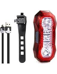 Hikpro Luz Trasera Bicicleta Micro USB Recargable, 3W, , resistencia al agua,4 LEDs, 5 modos de iluminación, cable USB incluido, adaptable a cualquier tipo de bicicleta, cascos o mochilas, seguridad y advertencia [Clase de eficiencia energética A+]