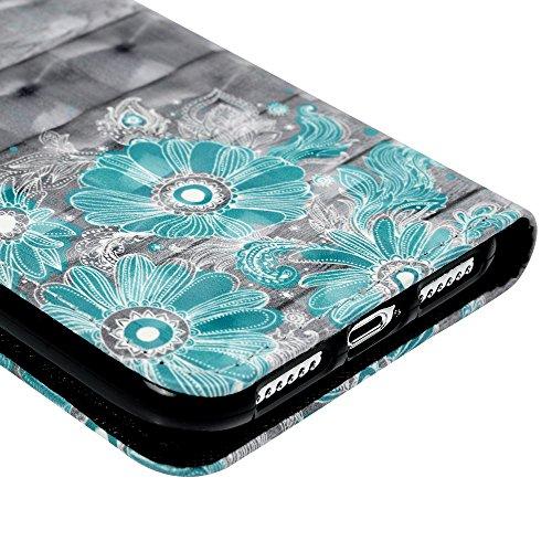 iPhone X Flipcase YOKIRIN Wallet Case für iPhone X Handyhülle Flip Case Hardcase Schutzhülle Ledertasche PU Leder Huelle Stand Halter Innere TPU Handytasche Schale Bookstyle Portemonnaie Handycase in  Blaue Muster