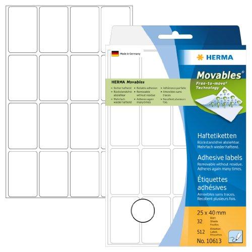 Herma 10613 Vielzwecketiketten ablösbar ohne Klebe-Rückstände (25 x 40mm, Movables, Papier matt) 512 Stück auf 32 Blatt, weiß, Handbeschriftung