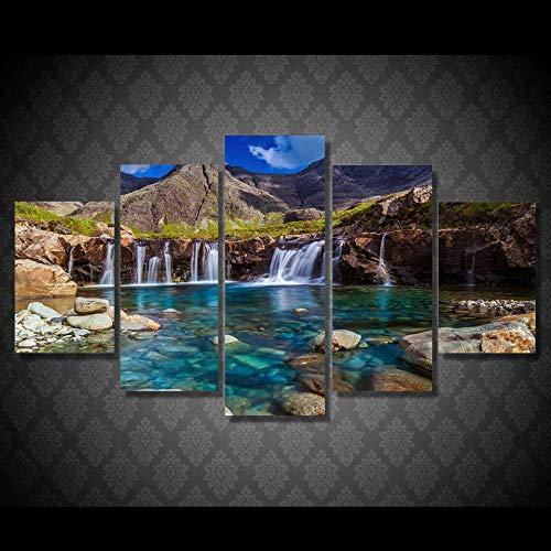FYBSNDY Leinwand Dekorative Wand Kunstwerk 5 Stücke Berg Wasserfall Stein Fluss Landschaftsmalerei Poster Bild Kunst 30X40Cmx2 30X60Cmx2 30X80Cmx1 Kein Rahmen