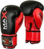 Maxx Blk/Red boxing gloves Junior kids & adult sizes Rex leather 4oz - 16oz
