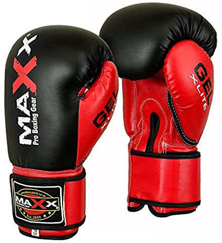 Maxx Bblk/Red boxing gloves Junior kids & adult sizes Rex leather 4oz - 16oz (10oz)