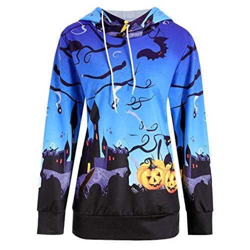 VEMOW Damen Frauen Halloween Kürbis Teufel Sweatshirt Lässige tägliche Party Pullover Hoodie Tops Bluse Shirt(Blau, EU-42/CN-XL)