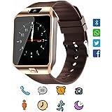 Smartwatch, CoolFoxx DZ09 Bluetooth 4,0 Mutifunktionale Armbanduhr, unterstützt Sim & TF-Karte, mit Kamera Schrittzähler Anti-Lost Tracker Stoppuhr Nachricht Kalender für Android phones(gold)