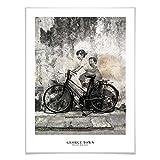 Poster George Town - Street Art: Kinder auf dem Fahrrad