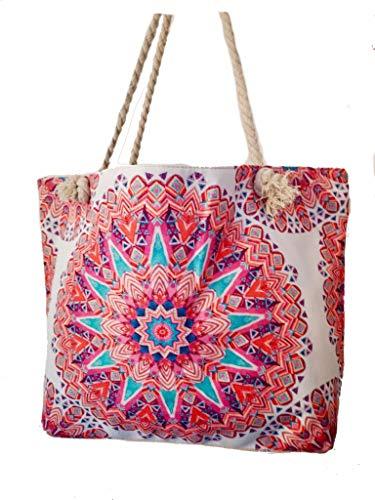 Einkaufstasche, Leinen, Strandtasche, XXL, Reisetasche, Yoga Mandala Tasche, Shoper, Sporttasche Sommer pink