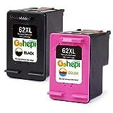 Gohepi Remanufactured HP 62XL 62 Druckerpatronen 2er-Pack Schwarz/Tri-Farbe für HP Envy 5540 5544 5546 5640 5642 5644 7640 5646 5542, HP OfficeJet 200 5740 5742 5744