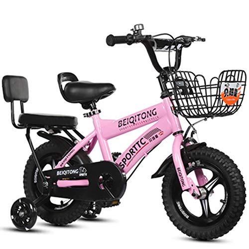 YUMEIGE Kinderfahrräder Mädchenfahrrad mit Stützrädern für 12 14 16 18 Zoll Fahrrad Geeignet für 2-9 Jahre Kinderfahrradgürtel Autoglocke Blau, Rosa, Weiß, Gelb (Color : Pink, Size : 14in)