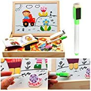 SUPERIMIO Educational Learning Board Multipurpose Double-Sided,Magnetic Multifunction Learning Box Wooden Puzz