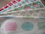 Lottashaus 5x Stoff 35x25cm Mint Rot Rosa orig. Tilda Stoffpaket Stoffe Patchwork Shabby chic