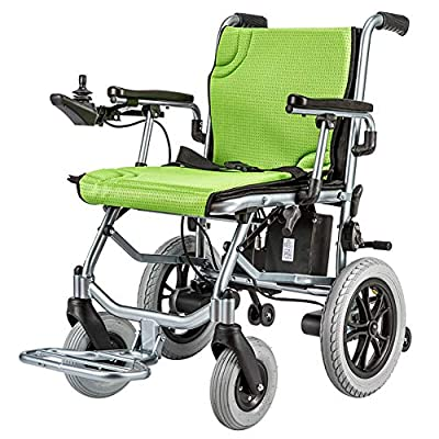 EMOGA Fold Foldable Power Compact Mobility Aid Wheel Chair, Lightweight Folding Carry Electric Wheelchair, Motorized Wheelchair,Removable Seat,45CM Wide Seat