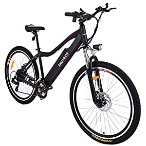 Ancheer Elektrofahrrad E-Bike Mountainbike Pedelec mit Shimano Getriebe, 36V 8AH Abnehmbarer Lithium-Akku Schwarz (26'' schwarz)