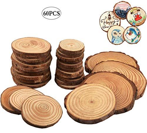 Liuer Rund Natur Holzscheiben 60PCS Holz Log Scheiben mit Baumrinde Unbehandeltes DIY Handwerk Dekoration Holz Tischdeko Hochzeits Weihnachten Baum Anhänger (3-4 cm,4-5 cm,5-6 cm,5MM Dicke)