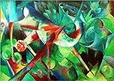 Poster 70 x 50 cm: REH im Blumengarten von Franz Marc/akg-Images - Hochwertiger Kunstdruck, Kunstposter