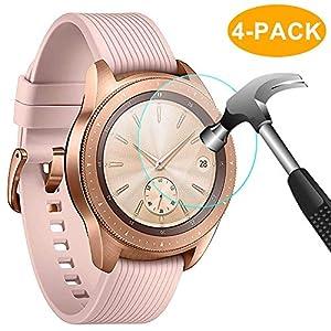 CAVN Samsung Galaxy Watch 46mm Displayschutzfolie [4 Packs], Wasserdichtes gehärtetes Glas Displayschutzfolie für Samsung Galaxy Watch [High Sensitivity] [HD Clear] [Anti-Scratch] [Anti-Bubble]