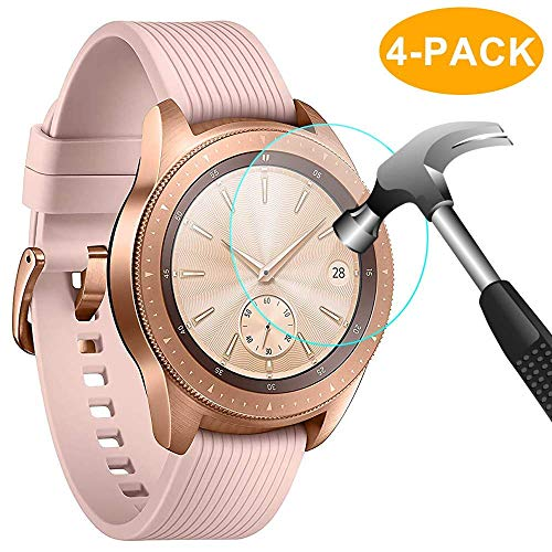 CAVN [4-Stück] Panzerglas Kompatibel mit Samsung Galaxy Watch 42mm Schutzfolie Panzerglas, Wasserdichtes gehärtetes Glas Displayschutzfolie für Galaxy Watch 42 mm [Anti-Scratch] [Anti-Bubble]