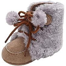 YanHoo Zapatos para niños Botas de Peluche de Color Bebe con Botines de Color Liso Baby
