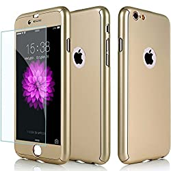 Hybrid 360° Shockproof Case Tempered Glass Cover Apple Iphone 8 7 5 5s Se 6 6 Plus 6s Plus 7 Plus & 8 Plus (For Iphone 7, Gold)