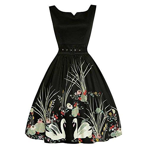Swing Delta Kleid mit Schwänen Print schwarz - Vintage, 50er Jahre, Rockabilly - 6XL / NL52 - Lindy Bop (Lindy Bop Vintage Kleider Schwarz)