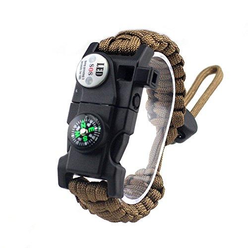 Einstellbare Überleben Armband, 7 Core Paracord 20 in 1 Notfall-Sport Zahnrad Satz Outdoor Survival Kit mit LED SOS Licht, Kompass, Rettungspfeife, Fire Starter Multi-Tool für Wildnis Abenteuer (Feuer-starter-überlebens -)