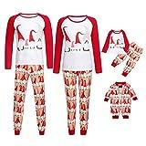 Weihnachten Schlafanzug Familien Outfit Mutter Vater Kind Baby Pajama Langarm Nachtwäsche Weihnachtsmann Print Sleepwear Top Hose Set von Innerternet