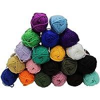 Gomitoli di lana colorata a doppio filo per lavorare a maglia, pacco da 20 x 50g - Colori assortiti, firmati Kurtzy TM
