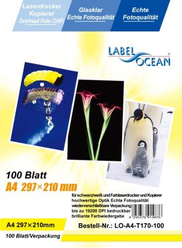 100 Blatt A4 Overheadfolie (OHP Transparentfolie Transparentpapier) für Farblaserdrucker, s/w Laserdrucker und Kopierer