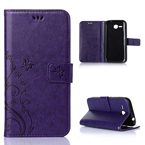 Huawei Ascend Y600 Hülle, CaseFirst Lederhülle Stoßfest Handyhülle Geprägt Textur Ultra Dünn Schutzhülle Kratzfest Hülle Wallet Case mit Handy Halter & Card Slots (Lila)
