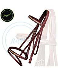 Royal Brass Clincher Bridle with PP Rubber Grip Reins./ Vegetable Tanned Leather./ Brass Buckles.