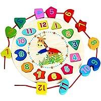 Color Reloj Despertador Forma Digital Cognitiva Acollador Enhebrar Bloques De Construcción De Madera Juguete Imposición De Madera Multifunción Reloj Digital - Colinsa