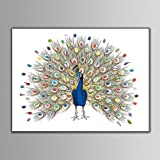 Takalao Personalisierte Fingerabdruck Leinwand druckt - Guest Book Signatur Fingerabdruck-Farbe Pfau , Standard , 40*60